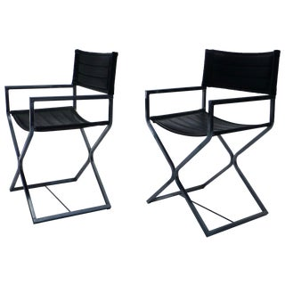 Milo Baughman Style Chrome Campaign Chairs - Pair
