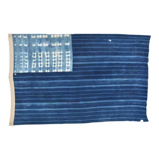 "61"" X 39"" Custom Tailored Blue & White Flag Created From Vintage African Fabrics"