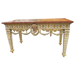 Robert Adams Style Inlaid Painted & Gilt Carved Console