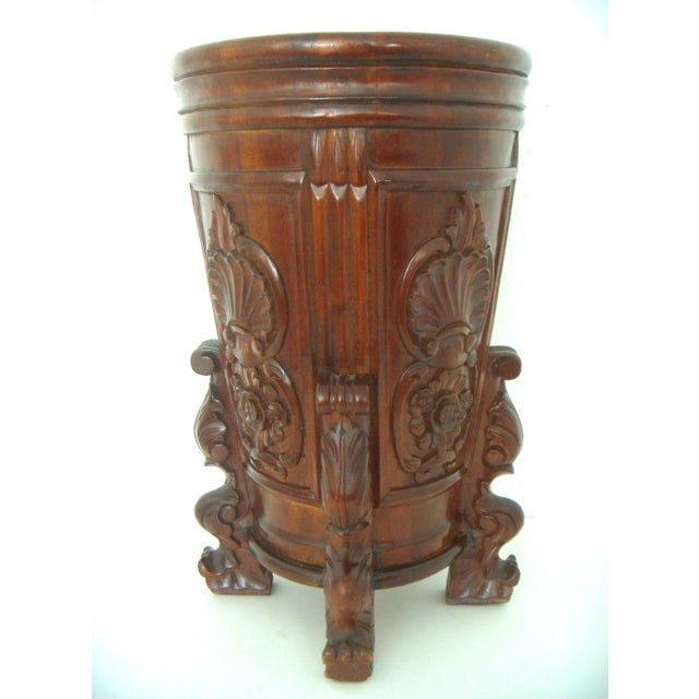 Carved Umbrella Stand With Stylised Birds and Shells - Image 2 of 5