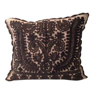 Beige and Dark Brown Embroidered Linen Pillow