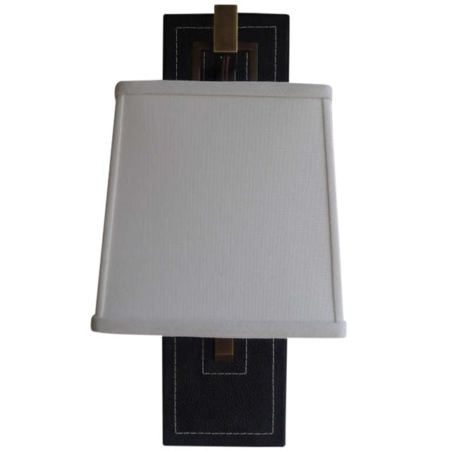 Paul Marra Black Leather Back Sconce with Tapered Linen Shade - Image 1 of 6