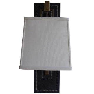 Paul Marra Black Leather Back Sconce with Tapered Linen Shade