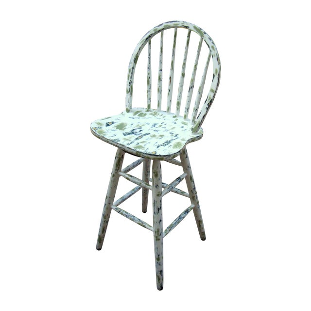 Country Cottage Hand Painted Distressed Bar Stool - Image 1 of 11
