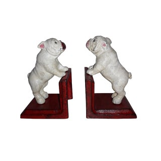 Rustic Cast Iron Painted Bull Dog Bookends - A Pair