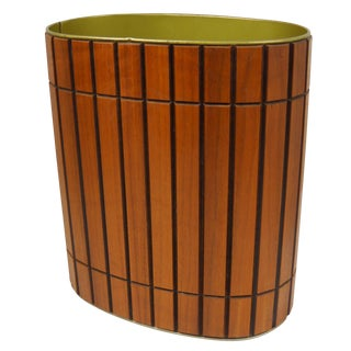 Mid-Century Wood Wastebasket by Ransburg
