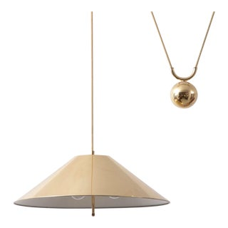 Chinese Hat Brass and Counter Weight Pendant Lamp, 1960s, Germany