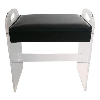 1970's Lucite Upholstered Bench