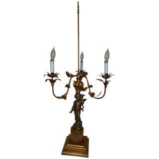 Vintage Cherub Putti Bronze Candelabra Lamp