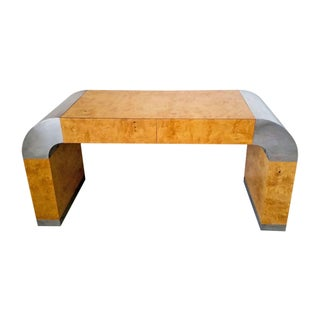 Pace Collection Burl and Chrome Writing Desk