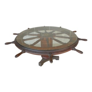 Antique Large Sailing Ships Wheel Coffee Table
