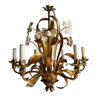 Vintage Italian Hollywood Regency Style Tole Gilt Floral Motif Chandelier