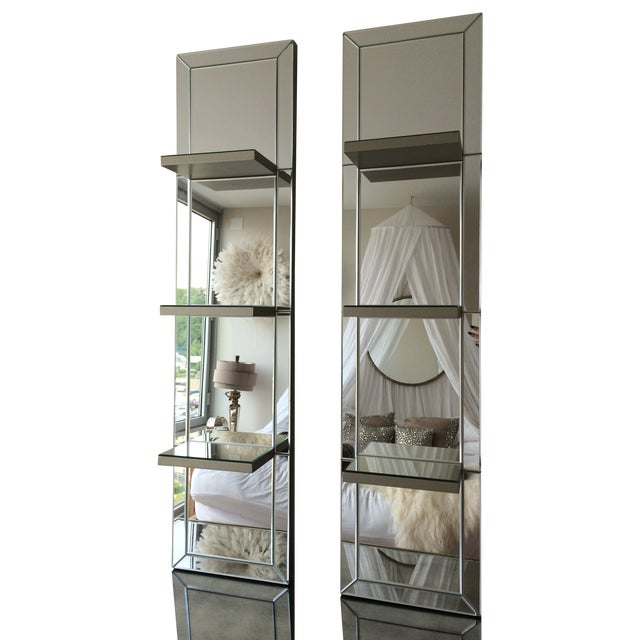 Image of Mirrored Shelf Wall Panels - a Pair