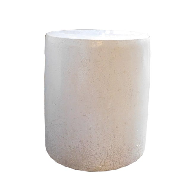 Chinese Off White Clay Round Garden Stool - Image 3 of 4