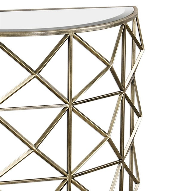Gold Handforged Iron Geometric Console Table - Image 2 of 5