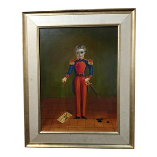 "C. 1930s Agapito Labios ""Boy in Military Officer Uniform"" Original Oil Painting"