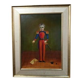 "C. 1930s Agapito Labios ""Boy in Military Officer Uniform"" Original Oil Painting"
