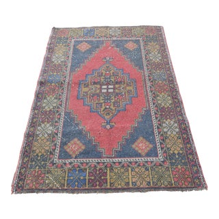 Antique Anatolian Hand Knotted Area Rug - 3′7″ × 5′3″