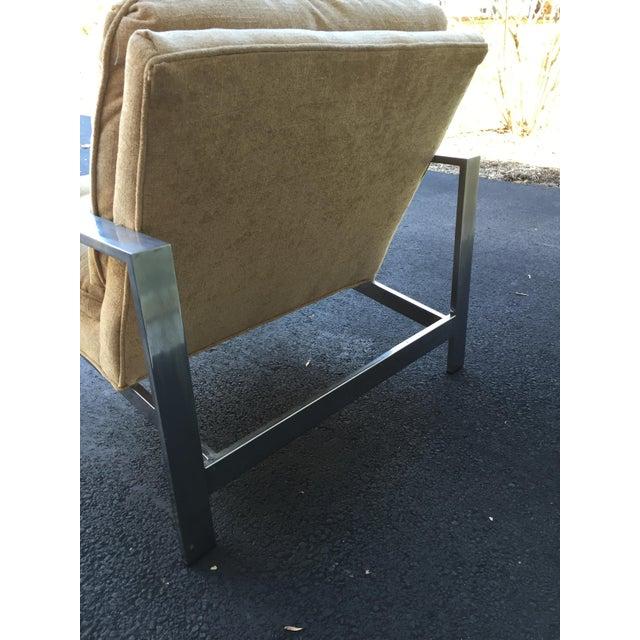 Milo Baughman Style Chrome Flat Bar Chair - Image 10 of 10