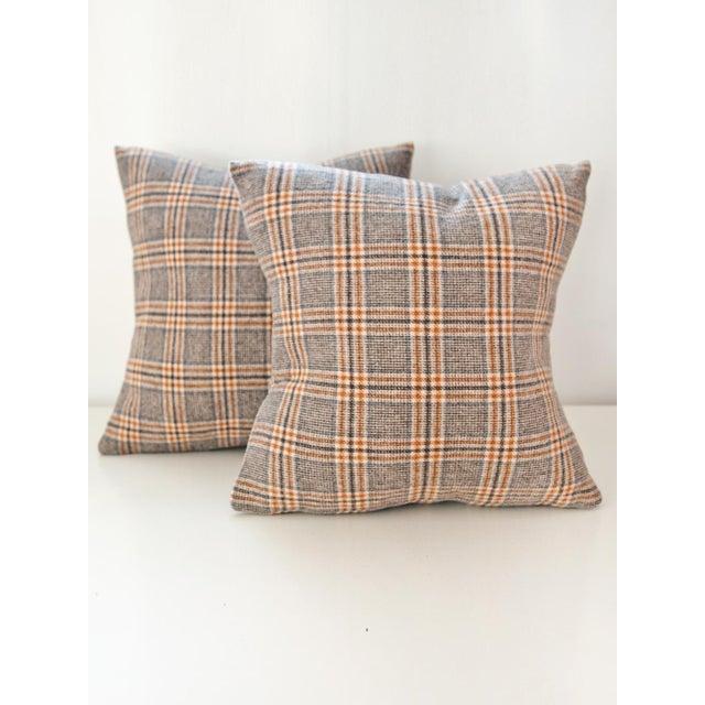 Neutral Tartan Harris Tweed Down Pillows - A Pair - Image 2 of 4