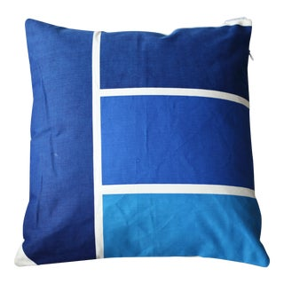 Blue 2 Mid-Century Modern Dead Stock 1970s Graphic Throw Pillow