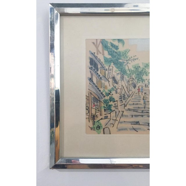 Mid Century Asian Framed Silk Prints - Pair - Image 4 of 8