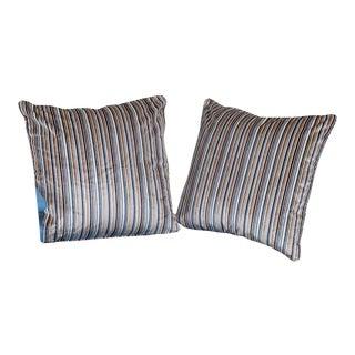 Pair of Custom Cotton Velvet Striped Pillows with Welt Cord