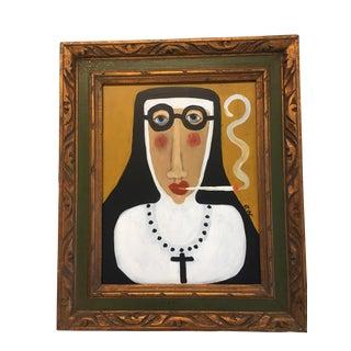 """Contemporary """"Smoking Nun"""" Folk Painting by Rose Walton"""