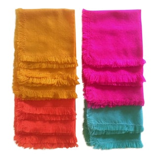 Vintage Bright Multicolored Woven Cotton Blend Fringed Edge Square Table Napkins - Set of 11