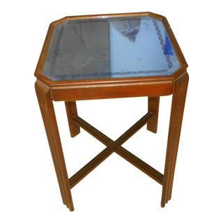 Art Deco Cobalt Blue Glass End Table