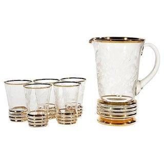 Gilt & Floral Etched Beverage Set - Set of 6