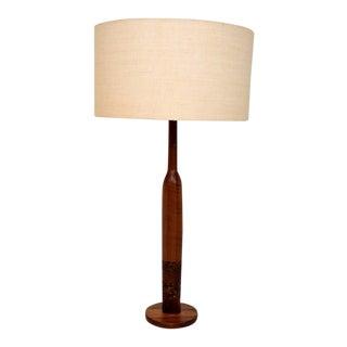 Danish Modern Teak & Cork Table Lamp