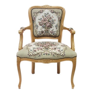 Wooden and Tapestry Italian Made Fauteuil
