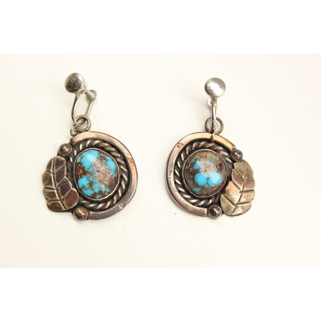 Image of Vtg Native American Old Bisbee Turquoise Earrings