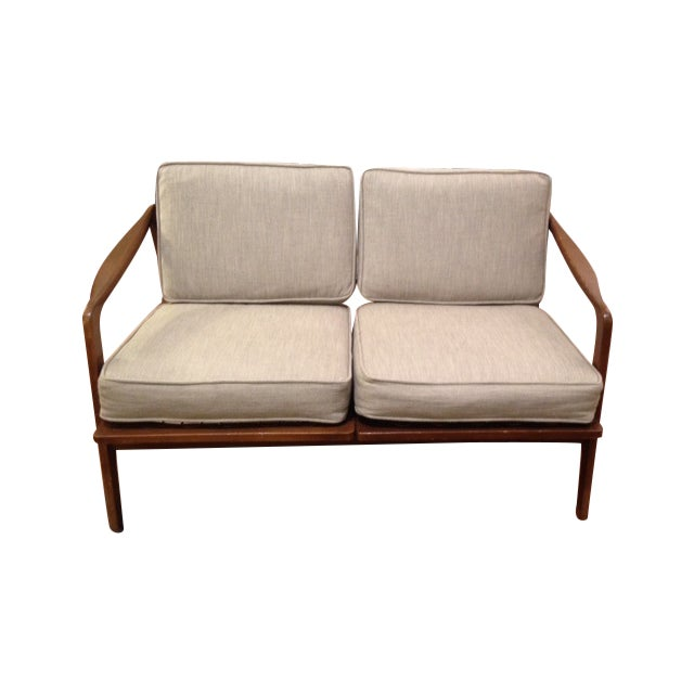 Mid Century Tan & Wood Frame Love Seat - Image 1 of 6
