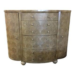 Contemporary Geometric Wood Demilune Chest