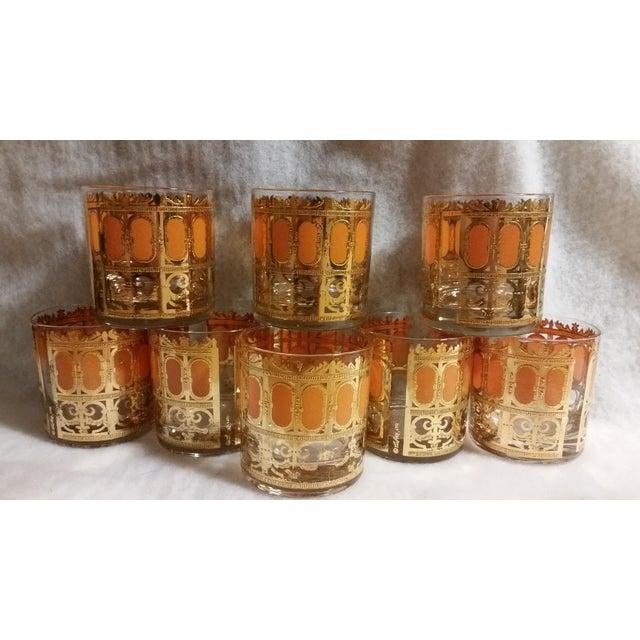 Image of Mid-Century Modern Culver Gold & Orange Enamel Low Ball Glasses - Set of 8