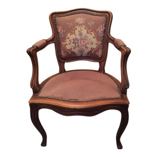 Antique French Needlepoint & Cane Back Chair