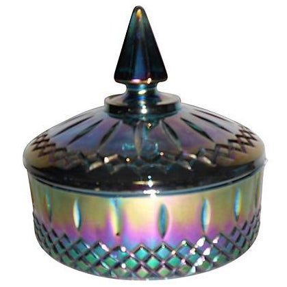 Blue Carnival Glass Candy Dish - Image 1 of 5