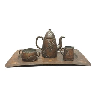 1910 Swedish Arts & Crafts Copper Tea/Coffee Set, Harold Linder