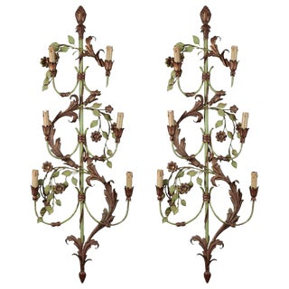 Very Tall French Six Light Sconces with Green and Gilt Finish