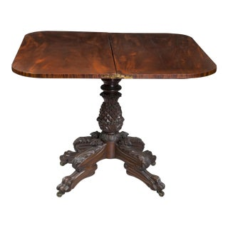 Classical Carved Mahogany & Satinwood Pineapple Card Table