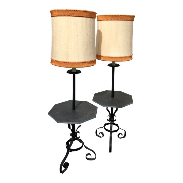 Stone Table Floor Lamps- A Pair - Image 1 of 4