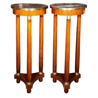 19th Century Marble Top Pedestals - Pair