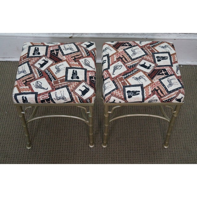 Vintage Faux Bamboo Metal Ottomans - A Pair - Image 4 of 10
