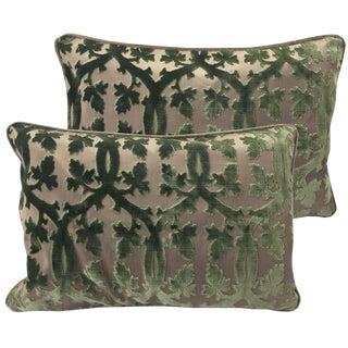 Scalamandre Falk Manor House Cut Velvet Bolster Pillows - A Pair