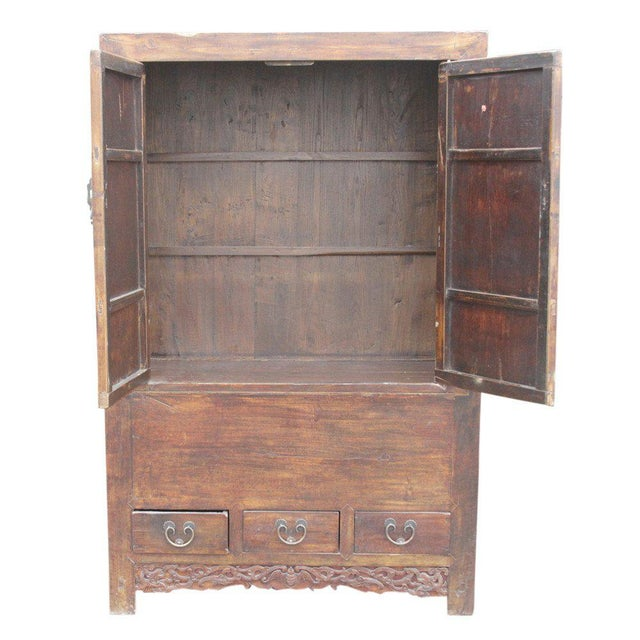 Antique Ming-Style Elm Armoire - Image 6 of 6