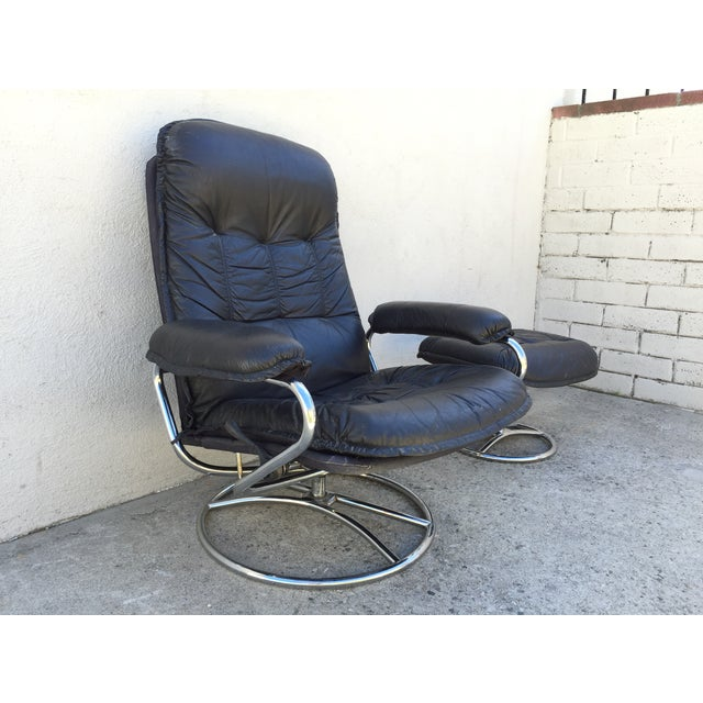 Mid-Century Italian Leather Chair and Ottoman - Image 6 of 11