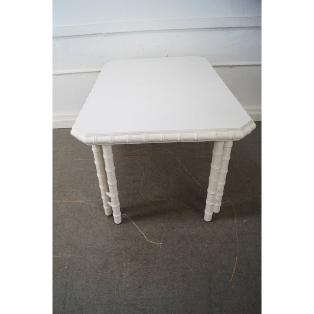 White painted faux bamboo dining table chairish for White painted dining table