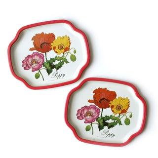 Vintage Metal Poppy Flower Trays - A Pair
